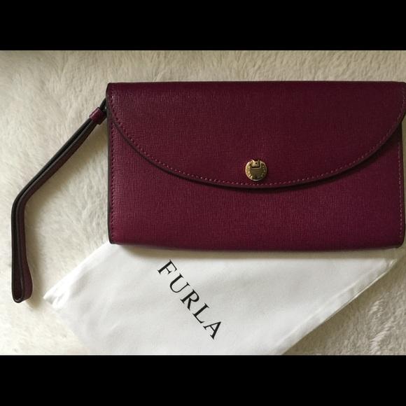 38028dba8f Furla Bags   Gioia Red Wine Leather Wristlet Wallet   Poshmark